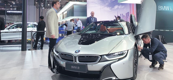 BMW exhibits its new energy vehicle model BMW i8 at the Shanghai auto show in April.png