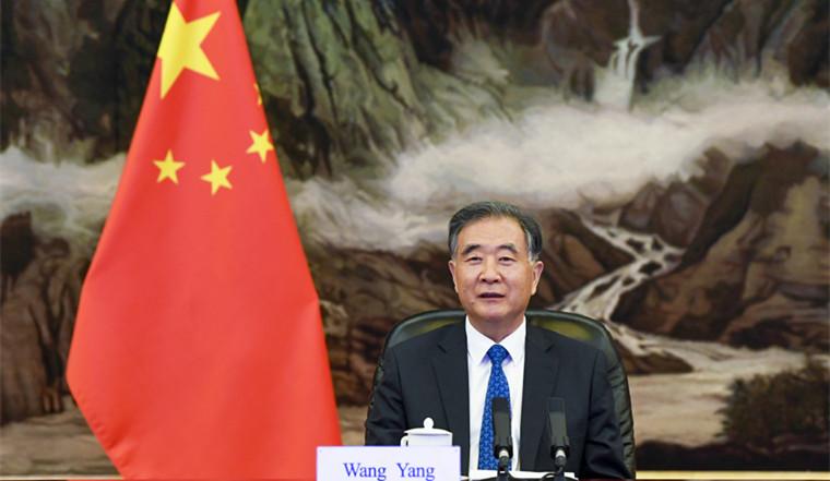 Wang Yang holds talks with Pakistani Senate Chairman