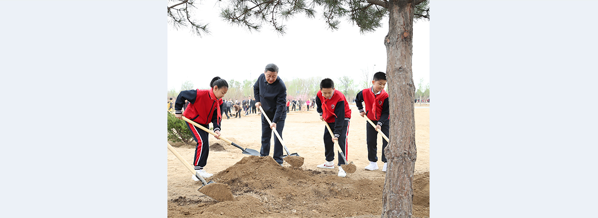 Xi stresses harmony between humans, nature during tree-planting activity