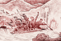 To escape an encirclement by Kuomintang troops, the core force of the Red Army begins a strategic breakaway move westward from Ruijin, Jiangxi, which later becomes known as the Long March.