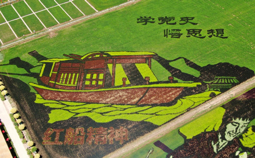 Rice paddy paintings celebrate Party's centennial