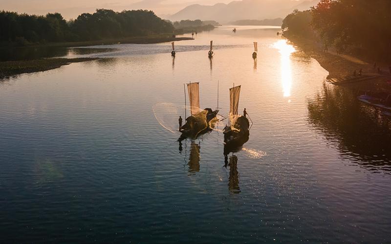 Aerial photos of Oujiang River in Zhejiang