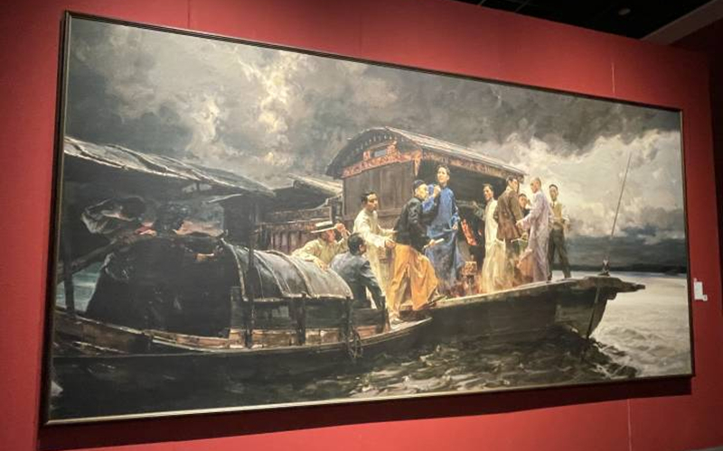 Fine art exhibition celebrates CPC centenary in Hangzhou