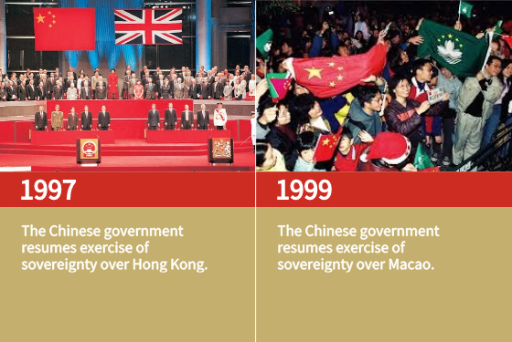 The Chinese government resumes exercise of sovereignty over Hong Kong.