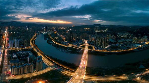 Night scene of Lanzhou, Gansu province