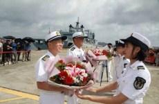 Chinese navy escort fleet triumphantly returns home