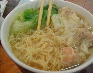 Wonton noodles with shrimp