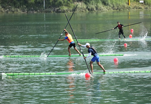 Athletes compete in single bamboo drifting event