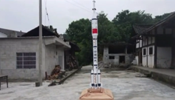 Craftsman's wooden rocket not for space mission