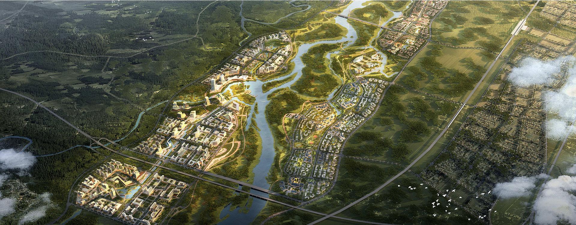 Вид с птичьего полета на город Боао Лэчэн