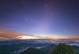 Stunning sunrise over Jianfengling forest park in Hainan