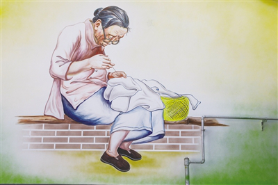 A granny sews clothes on a brick bed.png
