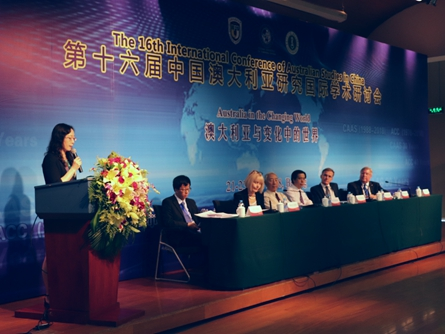 Wu Haiyan, director of IMNU's Australian Studies Center delivers opening remarks during the 16th International Conference of Australian Studies in China, held in Beijing on June 21..jpg