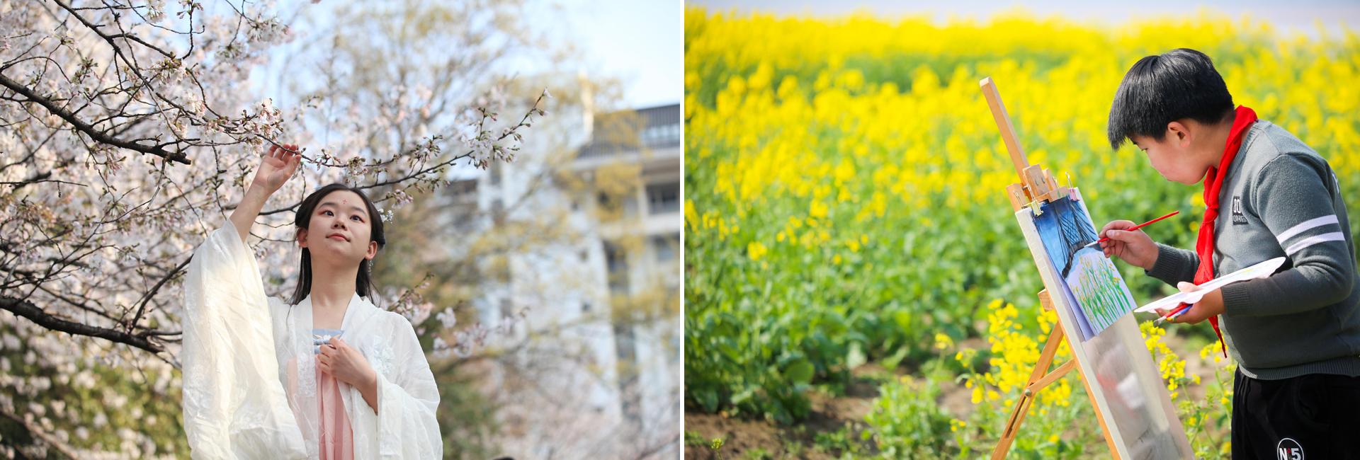 Students enjoy springtime in Jiangsu