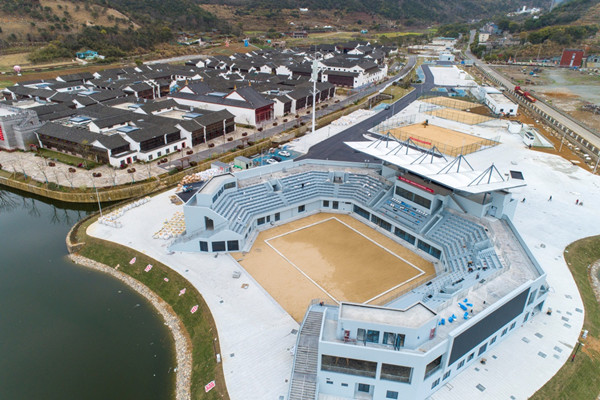 Asian Games beach volleyball venue nears completion