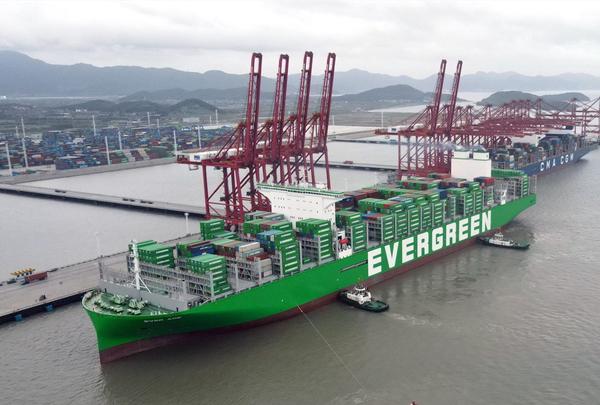 World's largest container ship docks at Ningbo Zhoushan Port