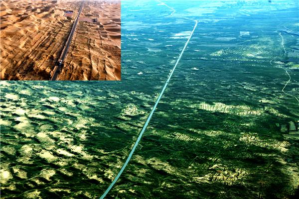 """1999年位于杭锦旗库布其沙漠境内的穿沙公路修通,此后,杭锦儿女将穿沙精神贯穿到造林绿化中,用绿色守卫着这条""""黄金通道""""。图为穿沙公路绿化对比图。.png"""