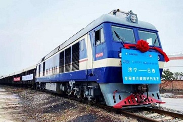 Jining launches first reefer container train to Brazil