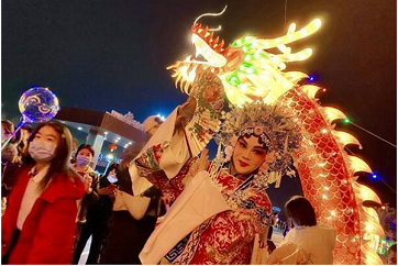Niulou town hangs out radiant lights for Lantern Festival