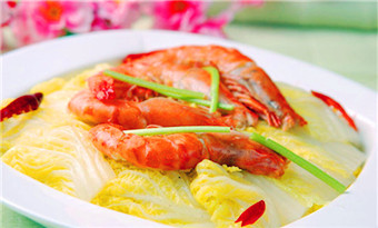 Braised prawn with cabbage (大虾烧白菜/Da Xia Shao Bai Cai)