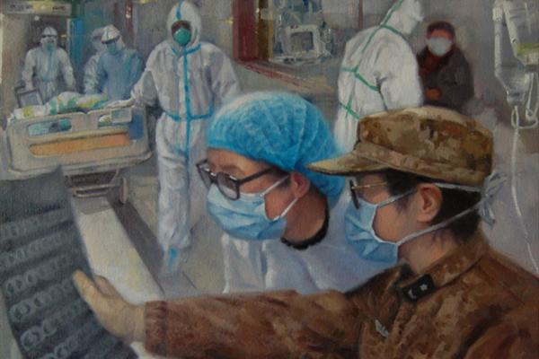 Qingdao painter honors heroes in fight against virus