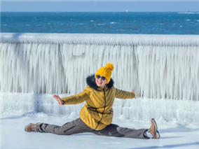 Shinan turns into ice world after cold snap