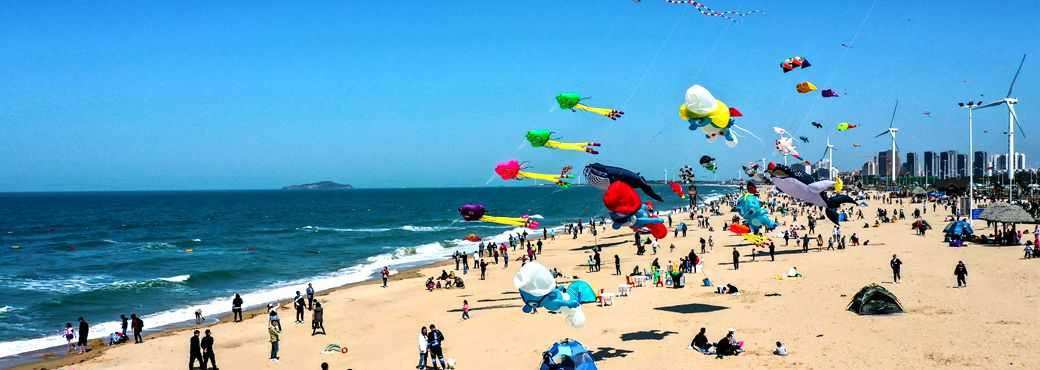 Kites of all kinds take flight over Shandong shore