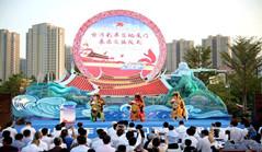 Taiwan parade float on display in Xiamen