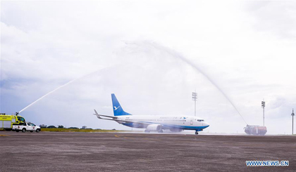 Xiamen Airlines plane receives at Clark International Airport in Philippines